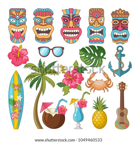 Tribal symbols of hawaiian and african culture. Vector african hawaii totem, mask of tribal culture tiki illustration