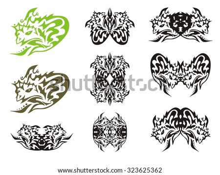 tribal monkey symbols gorilla head and gorilla frames isolated on a