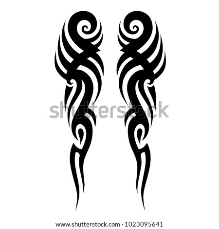 tribal symmetric pattern elements for tattoo men right and left hand and shoulders, art deco idea tattoos  design body, vector couple celtic tribal design elements ornament on arms on white background