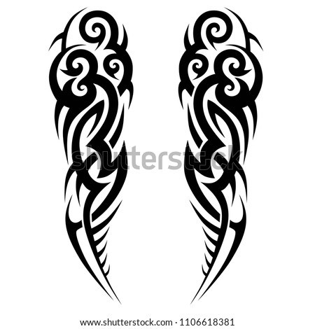 tribal symmetric pattern elements for tattoo men right and left hand and shoulders, art deco idea tattoos  design body, vector couple celtic tribal design elements ornament on arms