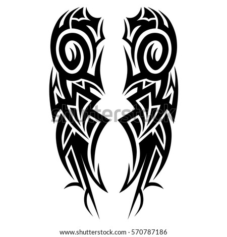tribal symmetric pattern elements for tattoo men right and left hand and shoulders, art deco idea neckline design fashion embroidery clothes,vector couple celtic tribal design elements ornament on arm