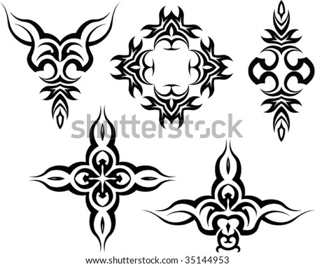 stock vector : Tribal Tattoo Arm Band, Cross Set
