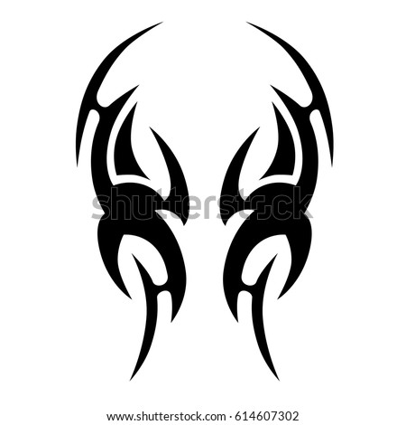 TRIBAL TATTOO ART DESIGNS. Sketched simple isolated vector. Tattoo design for girl, woman and man. Abstract tribal tattoo pattern.