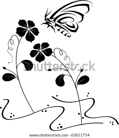 Buterfly Tatto on Tribal Tattoo Butterfly Stock Vector 65811754   Shutterstock