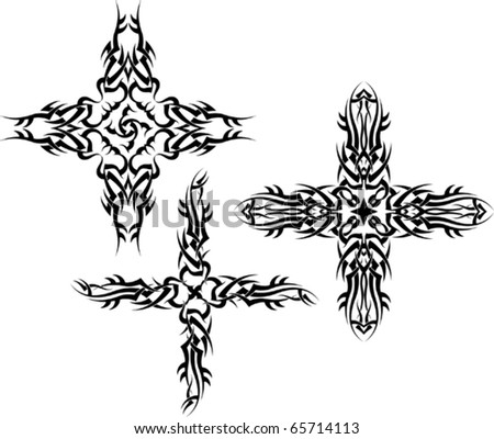stock vector : tribal Tattoo Cross