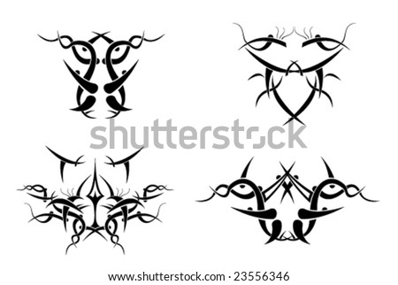 stock vector Tribal tattoo design elements black and white