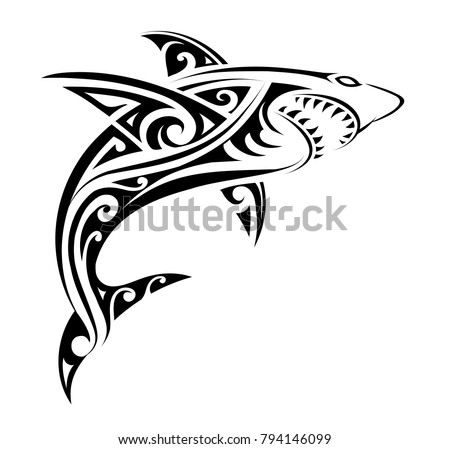 stock-vector-tribal-tattoo-design-for-shark-with-ethnic-polynesian-tribal-elements