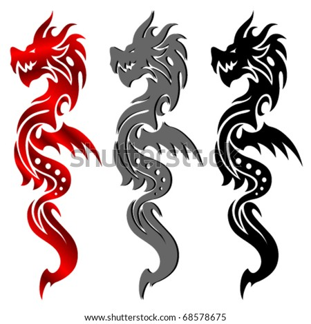 stock vector Tribal Tattoo Dragon Vector