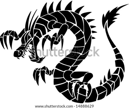 stock vector Tribal Tattoo Dragon Vector Illustration