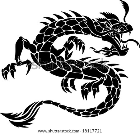 tribal tattoo dragon. stock vector : Tribal Tattoo