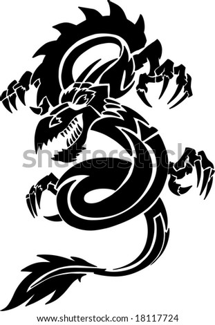 traditional tattooing_06. tribal tattoo dragon. stock