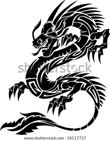 Tribal Tattoo Dragon Vector Illustration - stock vector