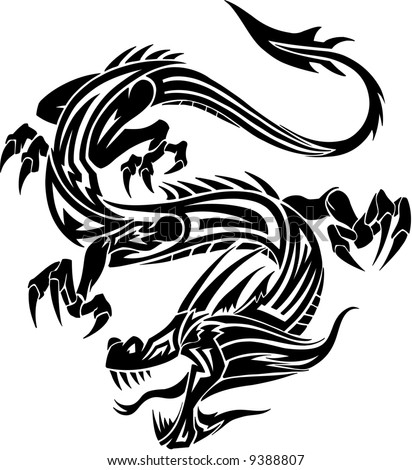 tattoos dragon. tribal tattoo dragon. stock