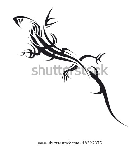 stock vector : tribal tattoo illustration of a lizard on white background
