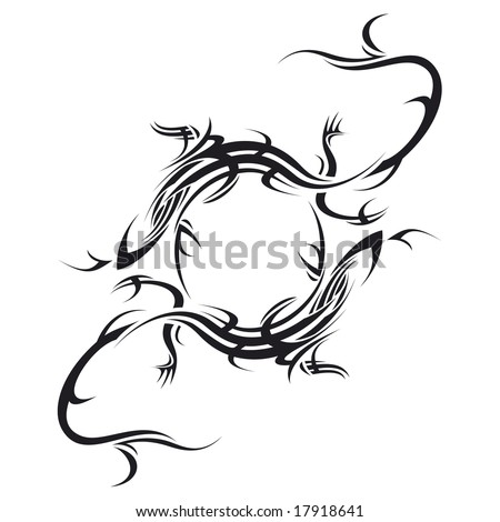 stock vector tribal tattoo illustration of two lizard making circle on