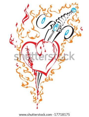 stock vector : tribal tattoo of broken heart with knife in fire isolated on