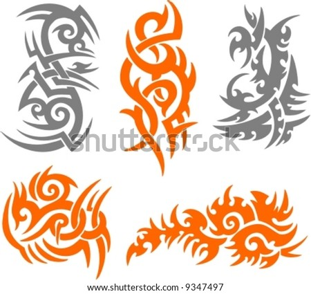 stock vector : Tribal Tattoo Set Vector Illustration. Collection 005.