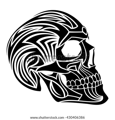 tribal tattoo skull vector