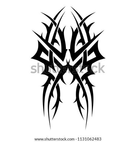 tribal tattoo symmetry pattern black vector art designs isolated,  tattoo art swirl design vector elements thorns