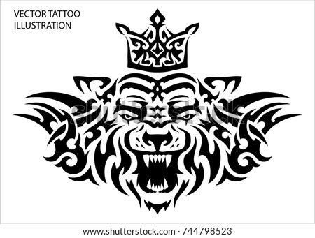 tribal tattoo tiger with crown
