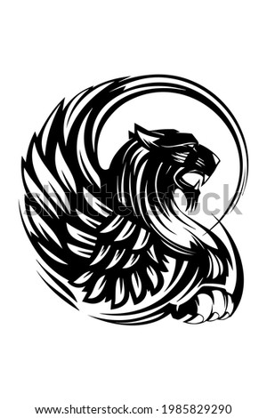 Tribal tattoo tiger with wings on the back, chest, forearm, shoulder, calves legs.Tattoo sketch, black and white stencil tattoo.