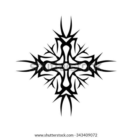 Tribal Tattoo Vector Design Sketch Art Cross Pattern Simple Logo