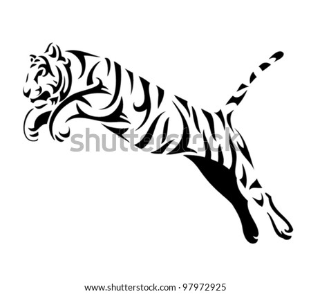 Tribal tiger jump - vector tattoo