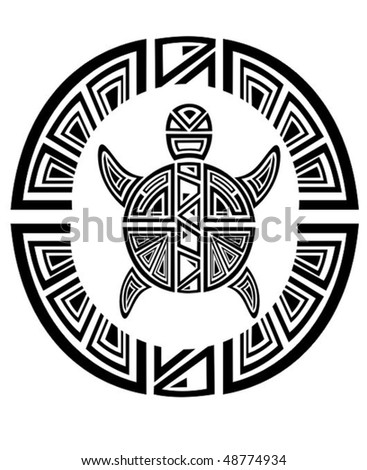 stock vector : Tribal turtle wheel .Tattoo style