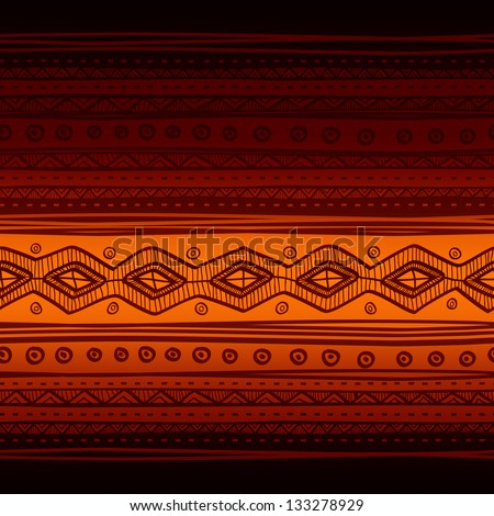 Tribal vector seamless fabric pattern. Hand drawn abstract background.