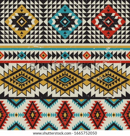 Tribal vector seamless navajo pattern. Aztec abstract geometric art print. Vintage retro colors.Ethnic vector background. Wallpaper, cloth design, fabric, tissue, cover, textile template.