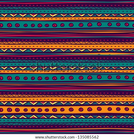 Tribal vector seamless pattern Hand drawn abstract background