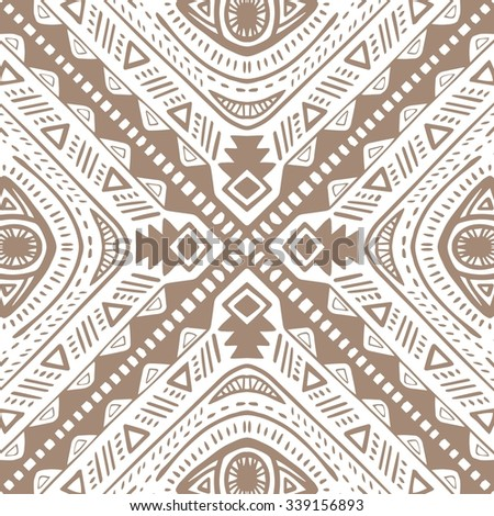 Tribal vector seamless pattern. Hand drawn abstract background. Isolated on white background