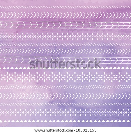 Tribal Vector Watercolor Background With Chevron and Tribal Design