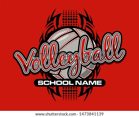 tribal volleyball team design with ball and dots for school, college or league