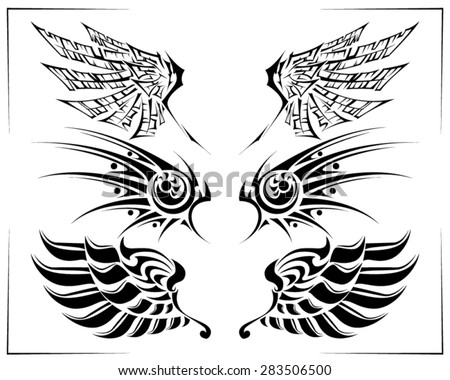 tribal wings tattoo set