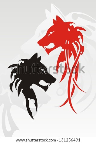 Tribal wolf head tattoo on the gray. Red and black variants - stock