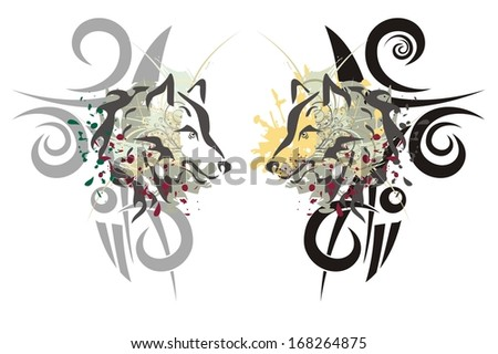 tribal wolf heads two tribal