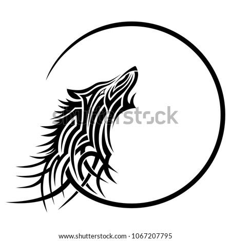 tribal wolf tattoo art deco