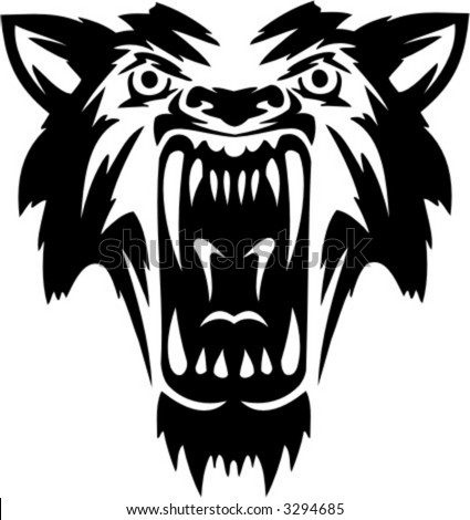 Tribal Wolf. Vector Image. Ready for vinyl cutting. - stock vector