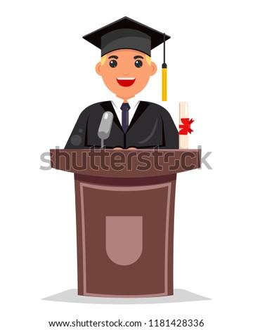 Tribune graduate solemn speech character design flat vector illustration