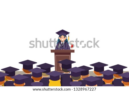 Tribune graduation speech students crowd graduate female solemn character isolated on white flat design vector illustration