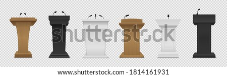 Tribune set. Realistic different color podiums with microphones ,front view pedestals for lecture, award ceremony, press interview and political debate 3d empty platform for speakers vector isolated set Photo stock ©