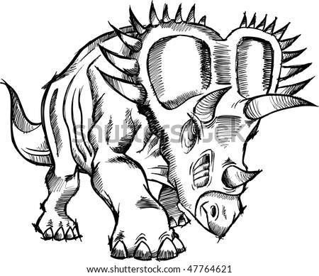 Triceratops Dinosaur Sketch doodle Vector