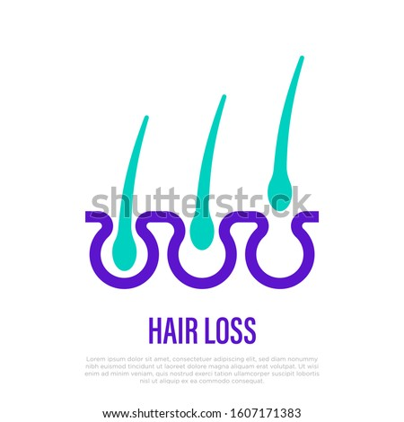 Trichology: hair loss thin line icon. Hair follicles in different cycles. Vector illustration.