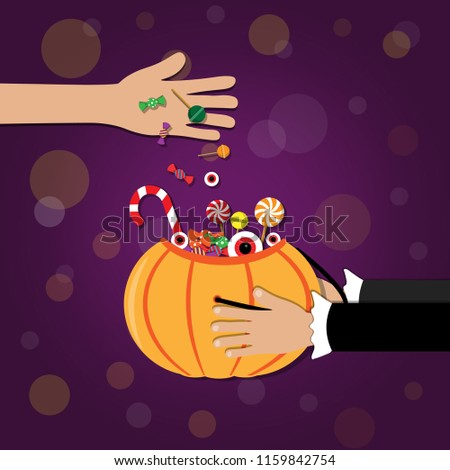 Trick or Treat. adult give candy with children is holding basket pumpkin   on  background.  Halloween theme. Vector illustration. #1159842754