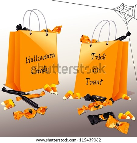 Trick-or-treat bags with candy (eps10);