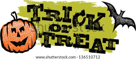 Trick or Treat Distressed Halloween Grunge Graphic