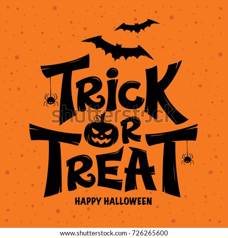 Trick or Treat lettering design on orange background Stock photo ©
