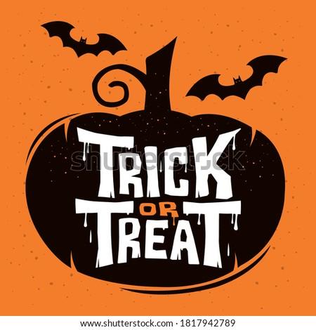 Trick or Treat lettering design on orange background Vector Illustration
