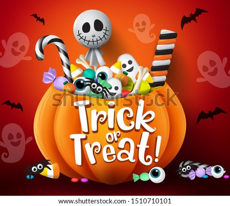 Trick or treat vector design. Trick or treat halloween pumpkin basket with sweets and scary candies like candy cane, marshmallow and lollipop elements in scary  bat and ghost red background.